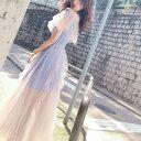 ワンピース 韓国 ドレス フリル シースルー オフショルダー カジュアルドレス 春 夏 半袖 ロング丈 リゾート パー…
