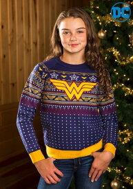 チャイルド Wonder Woman Navy Ugly Christmas Sweater ハロウィン 子ども コスプレ 衣装 仮装 こども イベント 子ども パーティ ハロウィーン 学芸会