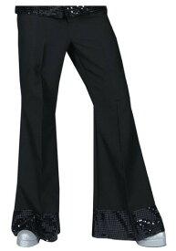 ブラック Sequin Cuff ディスコ Pants ハロウィン メンズ コスプレ 衣装 男性 仮装 男性用 イベント パーティ ハロウィーン 学芸会