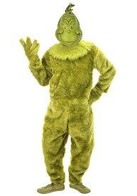 Men's The Grinch デラックス Jumpsuit w/ Latex マスク ハロウィン メンズ コスプレ 衣装 男性 仮装 男性用 イベント パーティ ハロウィーン 学芸会