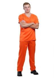 《全品P5倍 クーポン多数有》Men's Orange Prisoner コスチューム ハロウィン メンズ コスプレ 衣装 男性 仮装 男性用 イベント パーティ ハロウィーン 学芸会