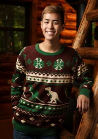 Men's Holiday 恐竜 Ugly Christmas Sweater ハロウィン メンズ コスプレ 衣装 男性 仮装 男性用 イベント パーティ ハロウィーン 学芸会