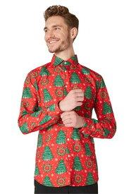Men's Suitmeister Christmas Trees レッド Shirt ハロウィン メンズ コスプレ 衣装 男性 仮装 男性用 イベント パーティ ハロウィーン 学芸会