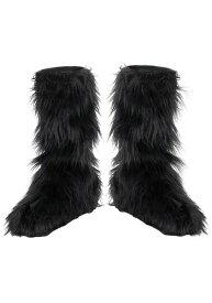 キッズ ブラック Furry Boot Covers ハロウィン コスプレ 衣装 仮装 小道具 おもしろい イベント パーティ ハロウィーン 学芸会
