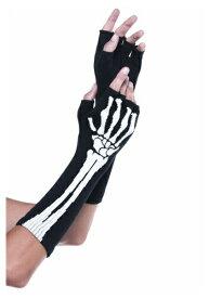 Skeleton Fingerless グローブs ハロウィン コスプレ 衣装 仮装 小道具 おもしろい イベント パーティ ハロウィーン 学芸会
