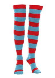 Thing 1 & Thing 2 Striped Knee High Socks ハロウィン コスプレ 衣装 仮装 小道具 おもしろい イベント パーティ ハロウィーン 学芸会