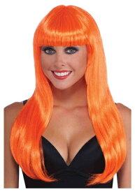 《全品P5倍 クーポン多数有》Neon Orange Long ウィッグ ハロウィン コスプレ 衣装 仮装 小道具 おもしろい イベント パーティ ハロウィーン 学芸会