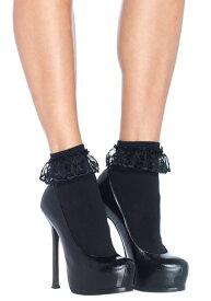 ブラック Lace Ruffle Ankle Socks for Women ハロウィン コスプレ 衣装 仮装 小道具 おもしろい イベント パーティ ハロウィーン 学芸会
