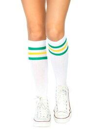 Green and Yellow Striped Athletic Socks for Women ハロウィン コスプレ 衣装 仮装 小道具 おもしろい イベント パーティ ハロウィーン 学芸会