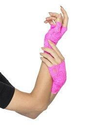 Pink Fingerless Lace グローブs for Women ハロウィン コスプレ 衣装 仮装 小道具 おもしろい イベント パーティ ハロウィーン 学芸会
