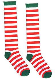 大人用 ホワイト and レッド Striped Socks ハロウィン コスプレ 衣装 仮装 小道具 おもしろい イベント パーティ ハロウィーン 学芸会