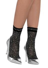 Women's ブラック and Silver Lurex Shimmer Ankle Socks ハロウィン コスプレ 衣装 仮装 小道具 おもしろい イベント パーティ ハロウィーン 学芸会