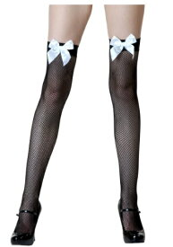 【全品10%OFFクーポン有】ブラック Fishnet / ホワイト Bow Thigh Highs ハロウィン コスプレ 衣装 仮装 小道具 おもしろい イベント パーティ ハロウィーン 学芸会