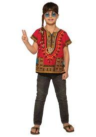 レッド Dashiki Shirt コスチューム for キッズ ハロウィン 子ども コスプレ 衣装 仮装 こども イベント 子ども パーティ ハロウィーン 学芸会