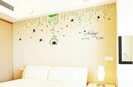 ウォールデコ ウォールステッカー インテリア 壁 シール Decor Bird Withy Cling Stickers ビニール リムーバル Home Art DIY Bed Room