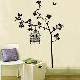 DIY Art ウォールデコ ウォールステッカー インテリア 壁 シール 木 Bird Cage Decor ルームステッカー ビニール リムーバル Paper Mural