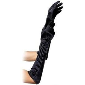 【マラソン全品P5倍】Elbow Length ブラック Satin Gloves with Snap Button Detail レディス 女性用 Formal Wear クリスマス ハロウィン コスチューム コスプレ 衣装 変装 仮装