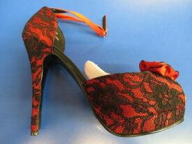 BELLA 17 Bordello Heels Red ブラック Lace Peep Toe シューズ 靴 セクシー アクセサリー ハロウィン コスチューム コスプレ 衣装 変装 仮装