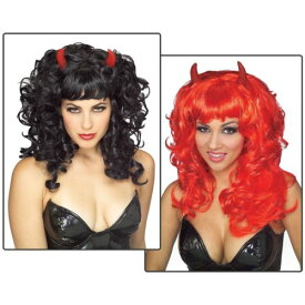 Fabulous Devil Wig アクセサリー 大人用 レディス 女性用 ブラック with Red Horns クリスマス ハロウィン コスチューム コスプレ 衣装 変装 仮装