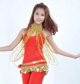 ベリーダンス 衣装 ロング Bead Body ネックレス ブレスレット Gold/Silver 2 カラー コスチューム ダンス 衣装 発表会