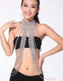 ダンス ベリーダンス 衣装 ロング Bead ネックレス ブレスレット Gold/Silver 2 カラー コスチューム ダンス 衣装 発表会