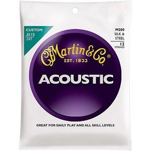 マーチン Martin M200 12-String Acoustic Folk ギター Silk and Steel Round Wound Strings