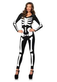 Women's Glow In the Dark Skeleton Catsuit ハロウィン レディース コスプレ 衣装 女性 仮装 女性用 イベント パーティ ハロウィーン 学芸会