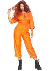 《全品P5倍 クーポン多数有》Women's Orange Prison Jumpsuit コスチューム ハロウィン レディース コスプレ 衣装 女性 仮装 女性用 イベント パーティ ハロウィーン 学芸会