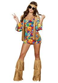 Women's 大きいサイズ Hippie Hottie コスチューム ハロウィン レディース コスプレ 衣装 女性 仮装 女性用 イベント パーティ ハロウィーン 学芸会