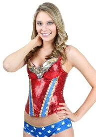 Wonder Woman Sequin Corset ハロウィン レディース コスプレ 衣装 女性 仮装 女性用 イベント パーティ ハロウィーン 学芸会