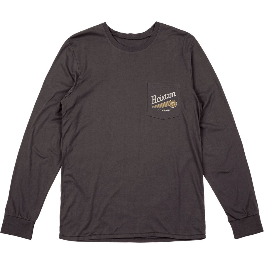Brixton Maverick Premium Pocket Long-Sleeve T-Shirt - Men's Washed Black アウトドア メンズ 男性用 Tシャツ T-Shirts