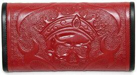 ビルウォールレザー BWL Bill Wall Leather Tooled Skull Red Bill Wall Fine Leather Hand Crafted Wallets