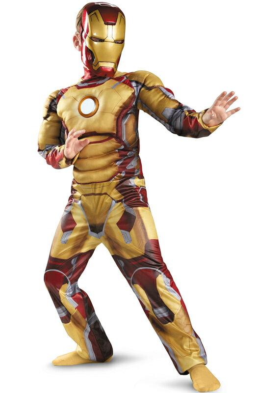 2点セット!!映画 アイアンマン アベンジャーズ マーベルヒーローズ マーク42 LEDが光る!!子供用 コスチューム ハロウィン コスプレ 衣装 仮装 男の子 子供 小学生 かわいい 面白い ヒーロー ベント
