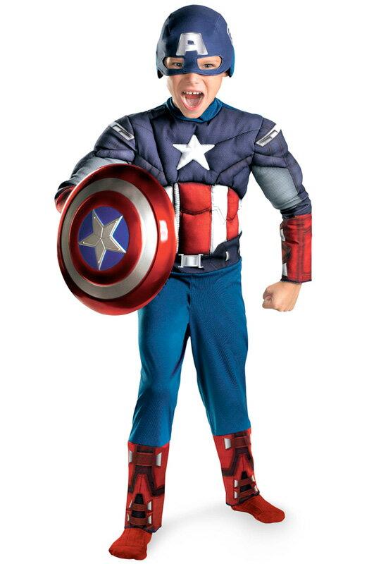アベンジャーズ キャプテン・アメリカ Marvel Avengers Movie Captain America Muscle 子供用コスチューム ハロウィン コスプレ 衣装 仮装 男の子 女の子 子供 小学生 かわいい 面白い ヒーロー 学園祭 文化祭 学祭 大学祭 高校 イベント