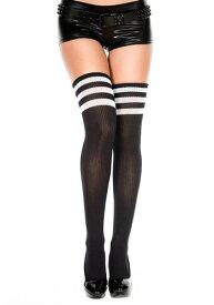 Black/ホワイト Athletic Thigh High Stockings | ハロウィン コスプレ 衣装 仮装 小道具 おもしろい イベント パーティ ハロウィーン 発表会 デコレーション リボン アクセサリー メンズ レディース 子供 おしゃれ かわいい
