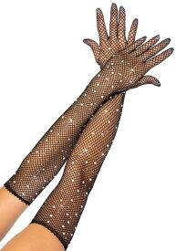 Fishnet ブラック Rhinestone Opera グローブs | ハロウィン コスプレ 衣装 仮装 小道具 おもしろい イベント パーティ ハロウィーン 発表会 デコレーション リボン アクセサリー メンズ レディース 子供 おしゃれ かわいい