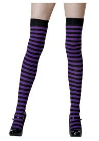 ブラック / Purple Striped Stockings | ハロウィン コスプレ 衣装 仮装 小道具 おもしろい イベント パーティ ハロウィーン 発表会 デコレーション リボン アクセサリー メンズ レディース 子供 おしゃれ かわいい