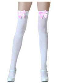 ホワイト Stockings with Pink Bows | ハロウィン コスプレ 衣装 仮装 小道具 おもしろい イベント パーティ ハロウィーン 発表会 デコレーション リボン アクセサリー メンズ レディース 子供 おしゃれ かわいい
