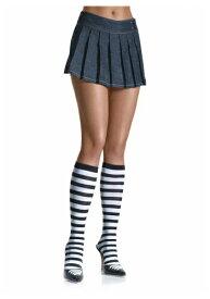 ブラック / ホワイト Striped Knee High Stockings for Women | ハロウィン コスプレ 衣装 仮装 小道具 おもしろい イベント パーティ ハロウィーン 発表会 デコレーション リボン アクセサリー メンズ レディース 子供 おしゃれ かわいい