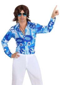Mens Blue Flower ディスコ Shirt ハロウィン メンズ コスプレ 衣装 男性 仮装 男性用 イベント パーティ ハロウィーン 学芸会 学園祭 学芸会 ショー お遊戯会 二次会 忘年会 新年会 歓迎会 送迎会 出し物 余興 誕生日 発表会 バレンタイン ホワイトデー
