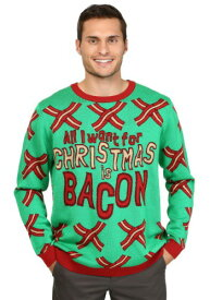 All I Want for Christmas is Bacon Ugly Christmas Sweater ハロウィン メンズ コスプレ 衣装 男性 仮装 男性用 イベント パーティ ハロウィーン 学芸会