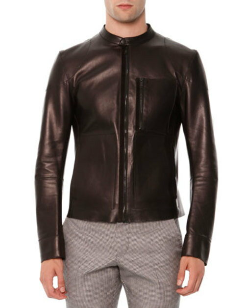 Leather Zip-Front Jacket w Zip Pocket