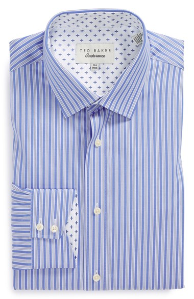Ted Baker London Trim Fit Stripe Dress Shirt Tall 男性 メンズ シャツ
