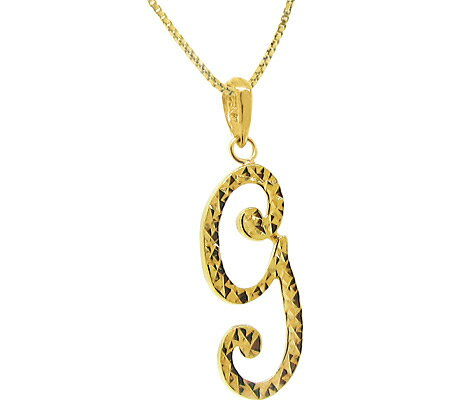 Moise Etched Script G Initial Necklace 402309-G - 14Kt Gold-Plated スカーフ