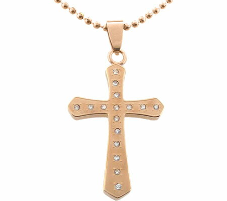 Moise Stainless Steel CZ Cross Necklace 402230 - Rose Gold Tone スカーフ