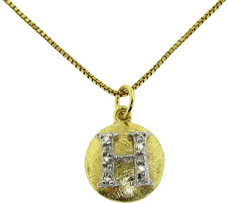 Moise Initial H Pendant Necklace 206103 - 14K Gold-Plated スカーフ