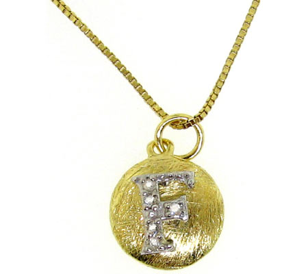 Moise Initial F Pendant Necklace 206103 - 14K Gold-Plated スカーフ