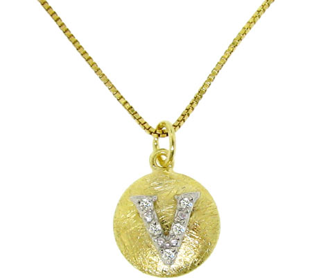 Moise Initial V Pendant Necklace 206103 - 14K Gold-Plated スカーフ