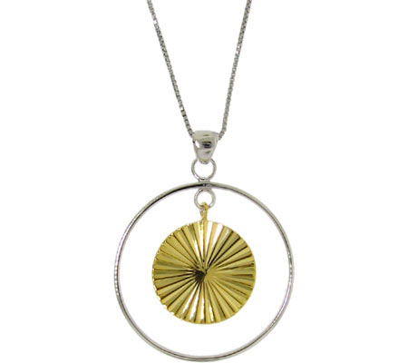 Moise Two-tone Double Circles Necklace - Silver Gold Plate スカーフ