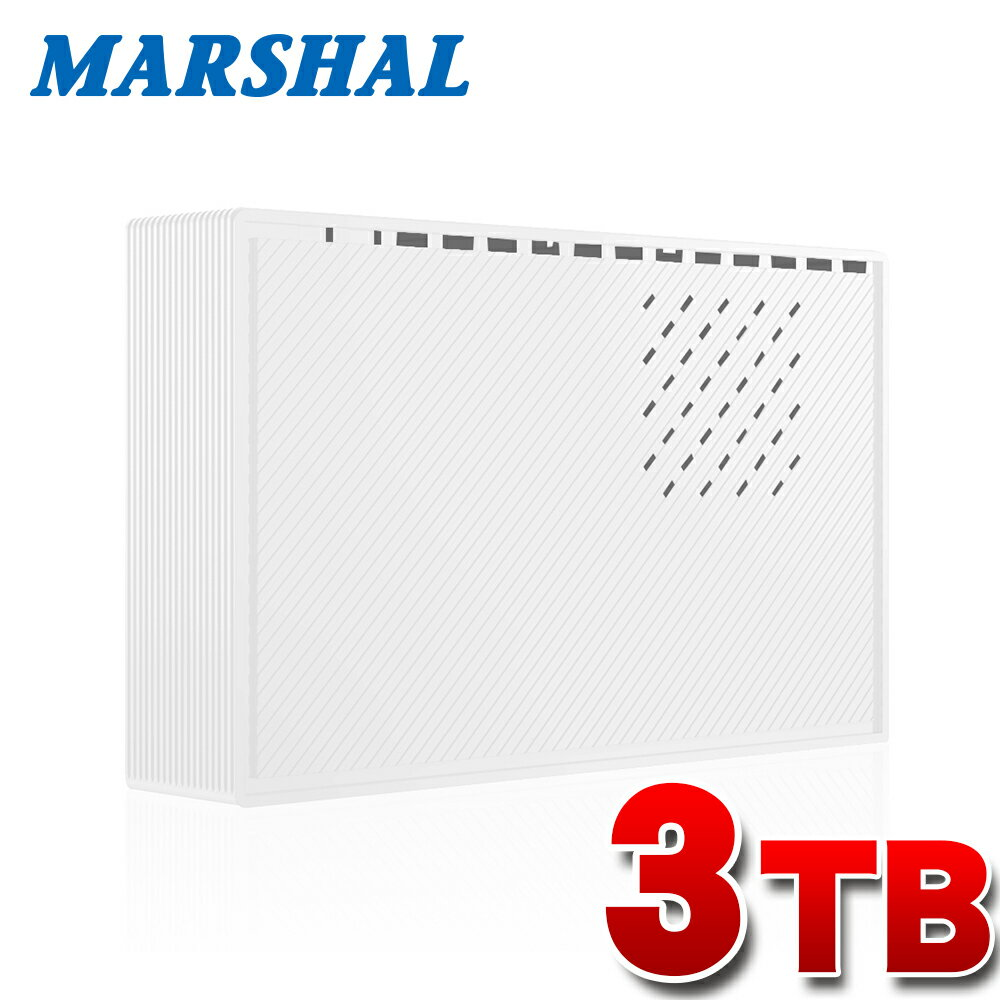 【ポイント5倍!2/16 10時迄】外付けハードディスク 3TB ホワイト テレビ録画 各社対応 レグザ アクオス ビエラ ブラビア USB3.0外付けHDD MARSHAL MAL33000EX3-WH